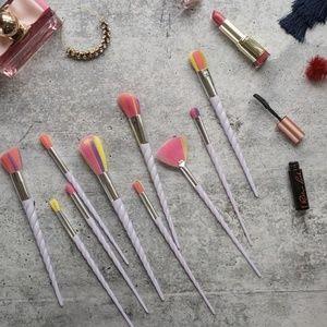 UNICORN RAINBOW Bright makeup brush 10 piece set